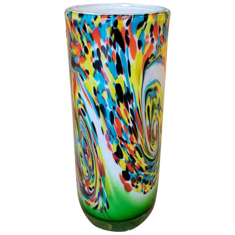 Jarrón de Cristal Veneciano de Colores, de los Años 80