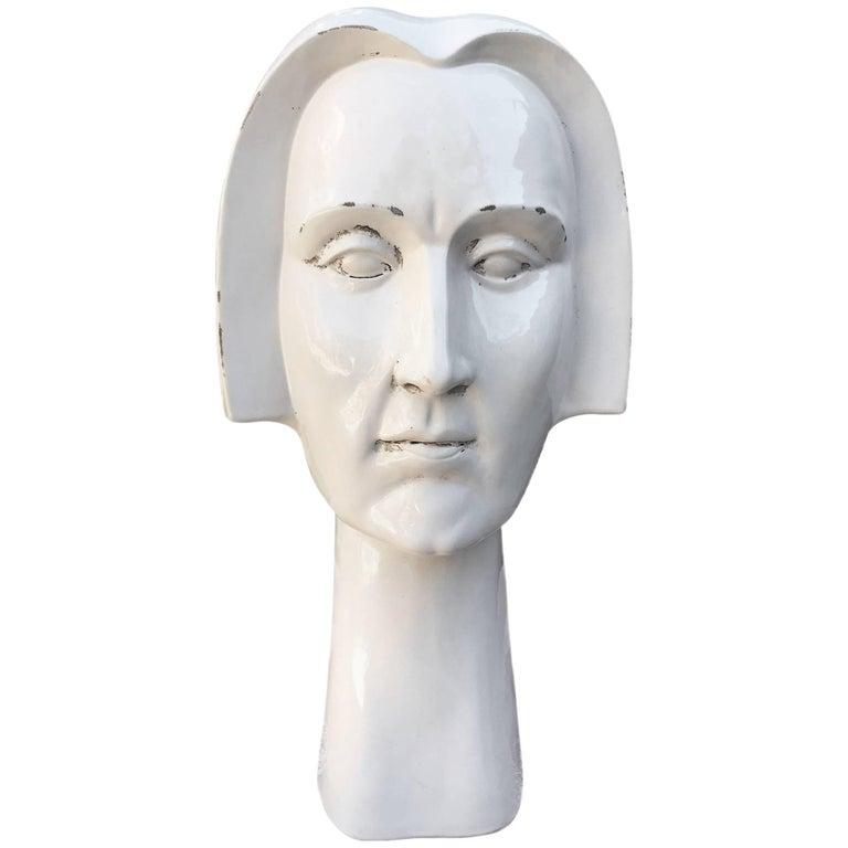 Busto de Cerámica Blanca Esmaltada, de los Años 80