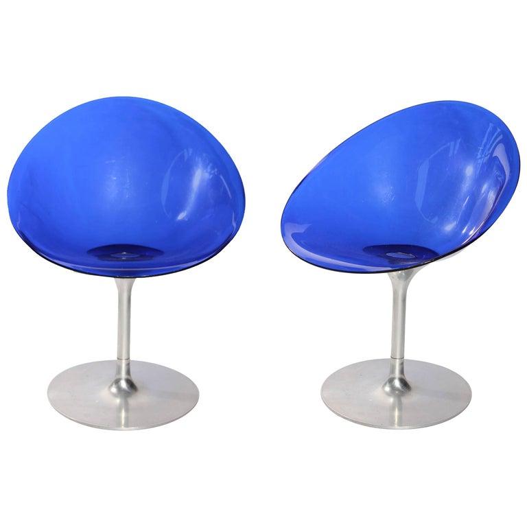 Sillas Italianas Giratorias Eros de Lucita Azul, de Philippe Starck para Kartell