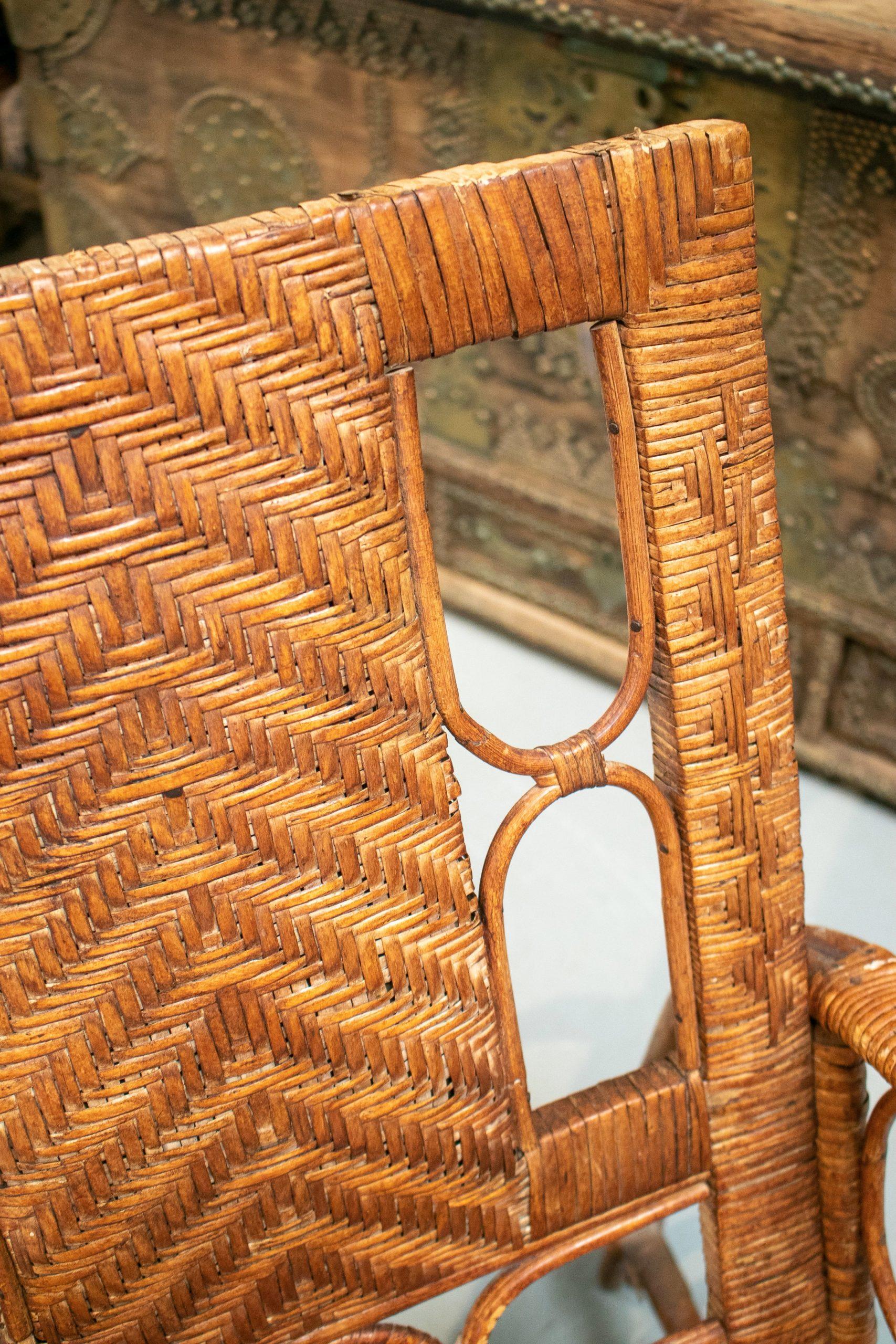 Pareja de Sillones Españoles de Bambú y Mimbre, de los Años 70