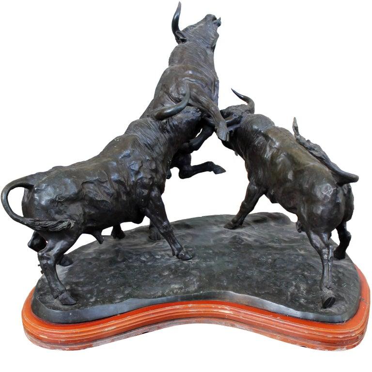 Escultura de Bronce de Tres Toros de Lidia, J. Cuevas, de Años 80