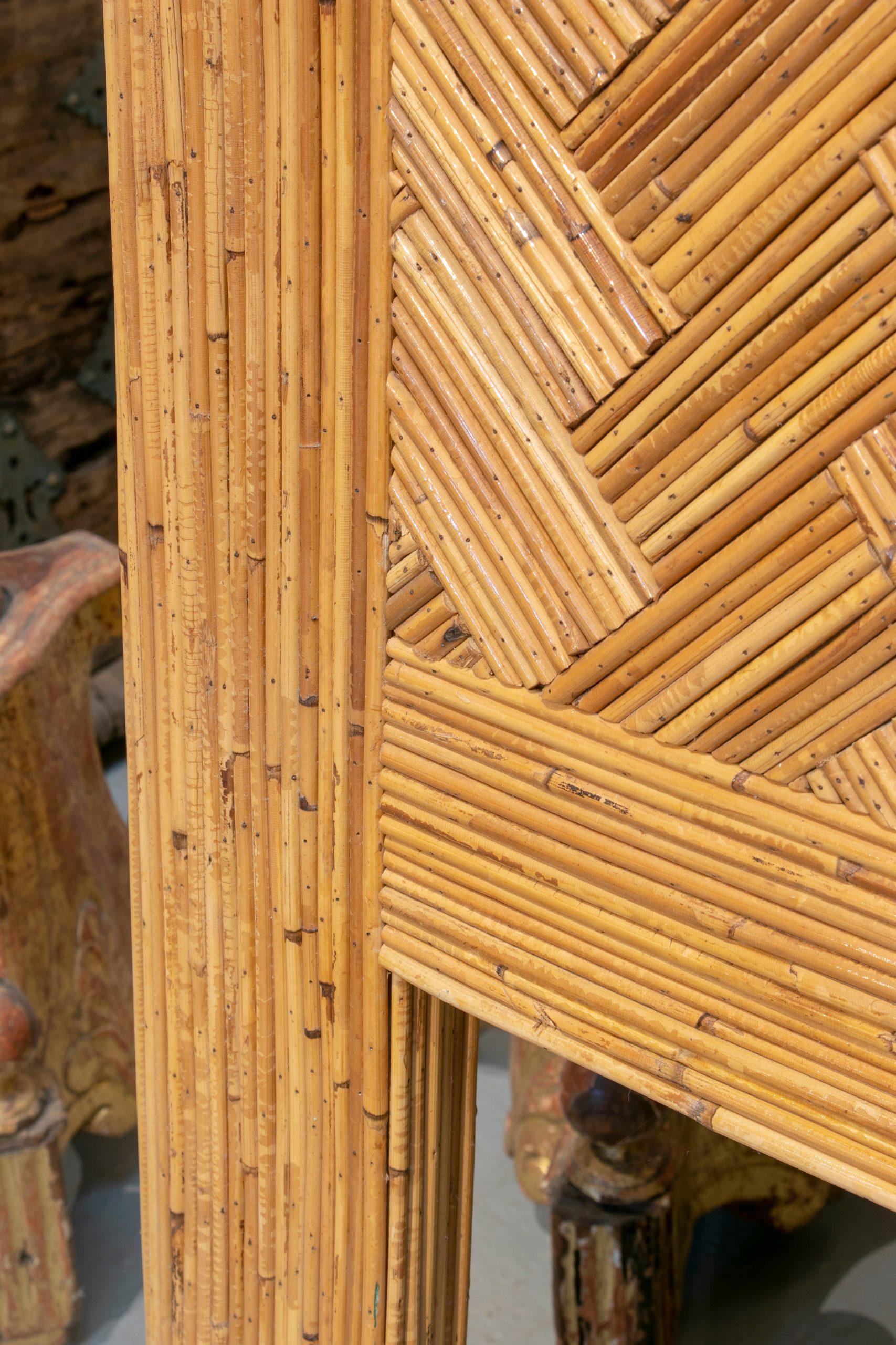 Par de Cabeceros de Cama de Bambú Español, de los Años 80