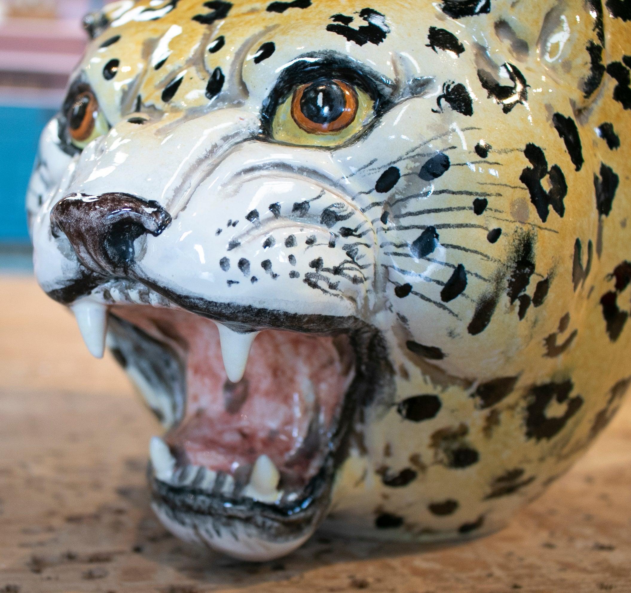 Pareja de Jarrones de Cerámica Española Esmaltada de Leopardo, de los Años 70
